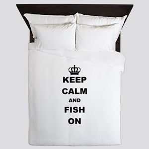 KEEP CALM AND FISH ON Queen Duvet